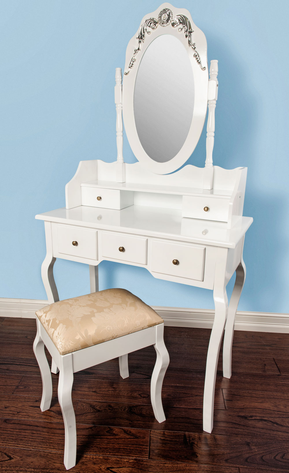 Dressing Table With Mirror And Stool: Luxembourg White Dressing Table Mirror Stool Set Bedroom 5